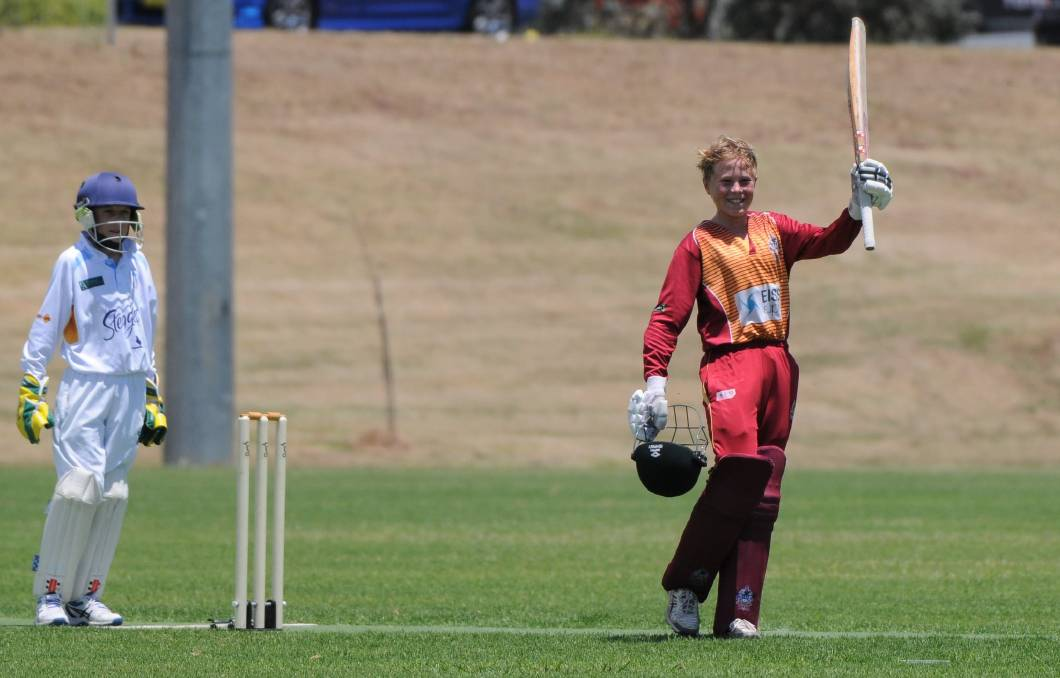 Maitland Maroon under-13 all-rounder Sam Holz celebrates his 100. Holz finished with 140 off 130 balls and took 4-23. Picture: Grant Power.