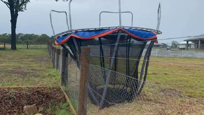 STORM:A trampoline tries to escape at Hillview Louth Park. Picture: Michelle Williams