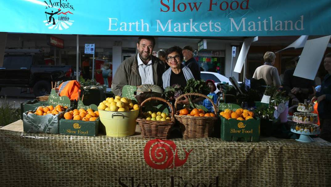 BIRTHDAY BASH: Slow Food Internationals Professor Francesco Sottile with Slow Food Hunter Valley leader Amorelle Dempster in 2017 when the Maitland Produce Market became the Slow Food Earth Markets Maitland. Picture: Marina Neil