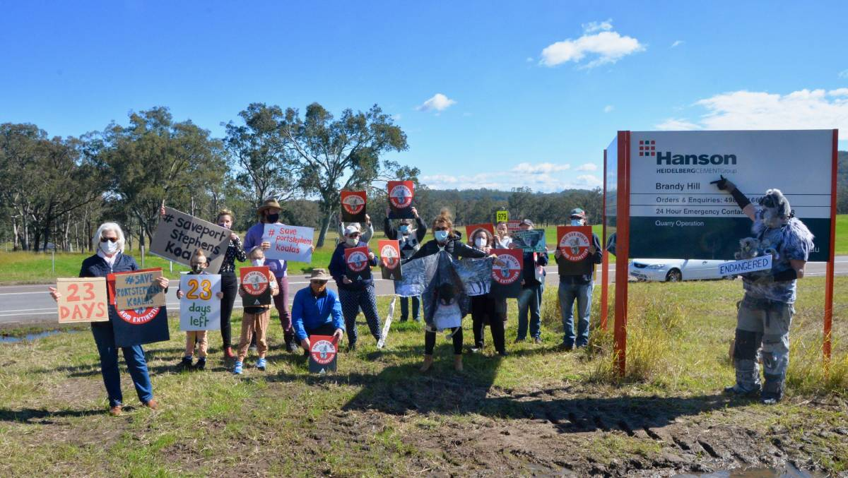 CONCERNED: Residents and supporters protesting outside the Brandy Hill Quarry. Picture: supplied