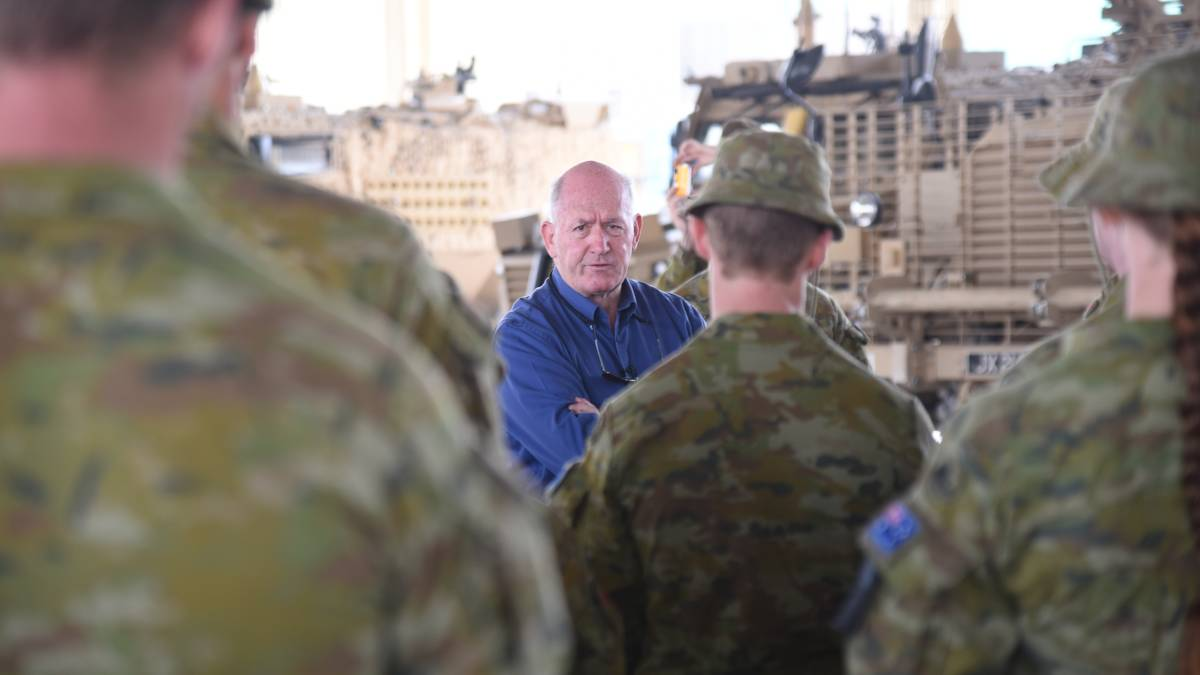 VICEREGAL VISIT: General Sir Peter Cosgrove visiting Australian troops in the Middle East in 2017. Picture: Courtesy, General Sir Peter Cosgrove