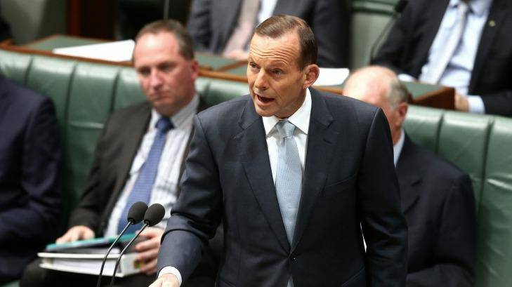 Prime Minister Tony Abbott in question time on Monday. Photo: Alex Ellinghausen