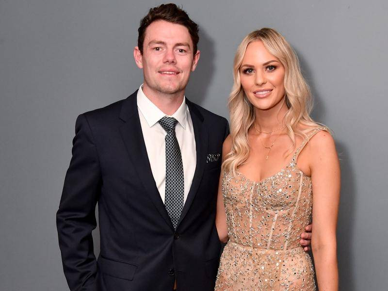 Brisbane's Lachie Neale and his wife Julie Neale attended the Brownlow Medal ceremony at the Gabba.
