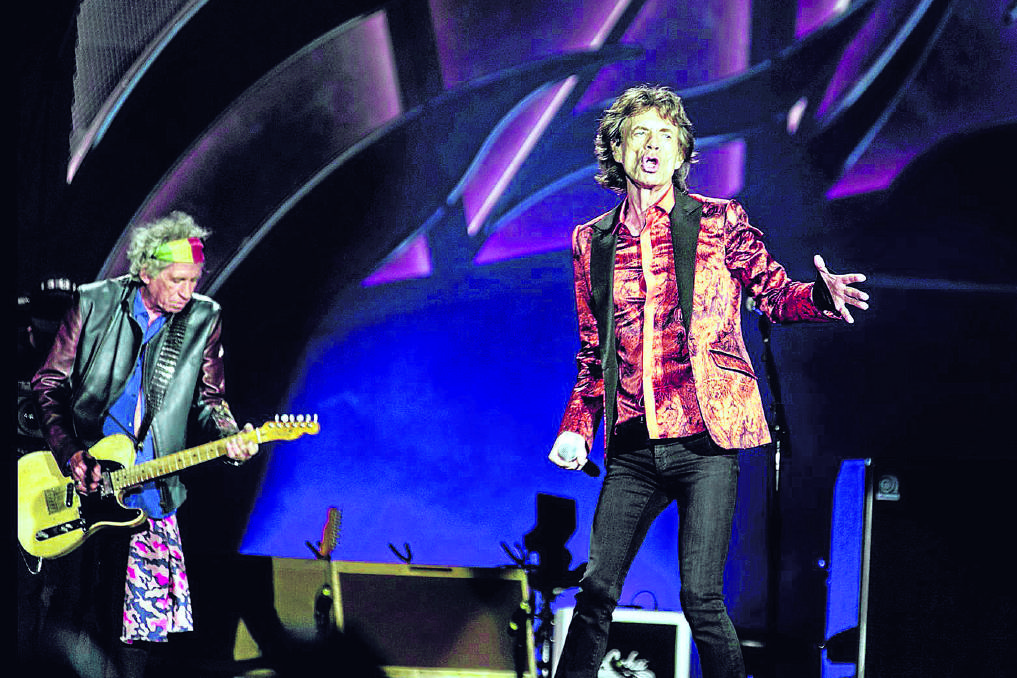 LEGENDS: Keith Richards and Mick Jagger on stage at Hope Estate on Saturday night. Picture by PERRY DUFFIN