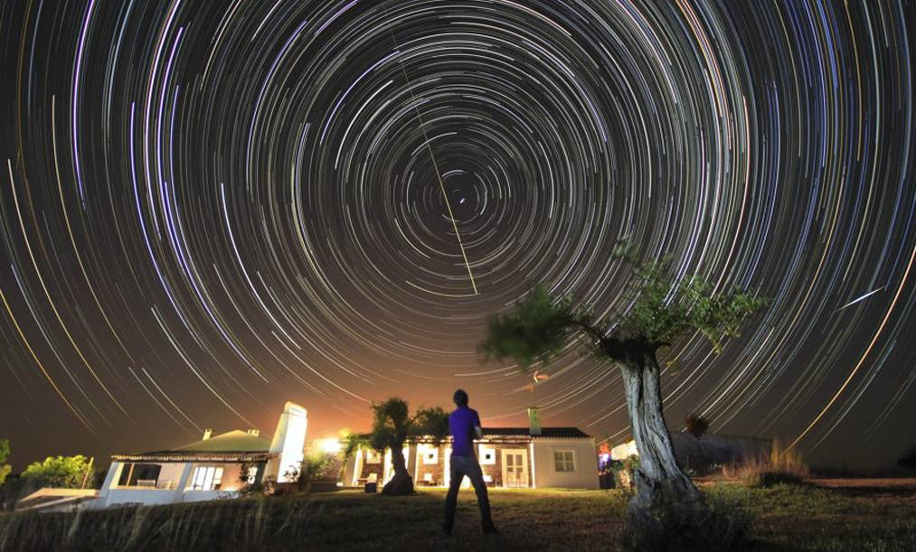 NIGHT SKY: Image of a star trail taken in Falperras Hill, Portugal.
